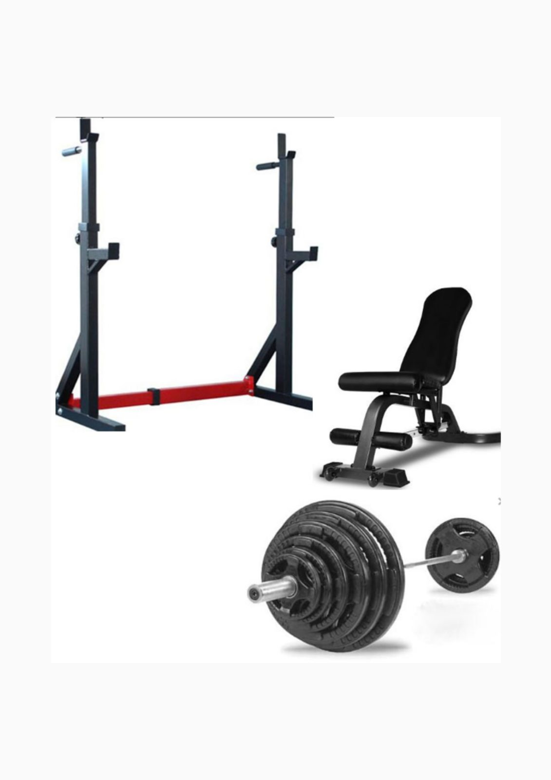 Home Gym Package Squat Stand Adjustable Bench Oly Bar Amp 100kg Weights Fitness Equipment