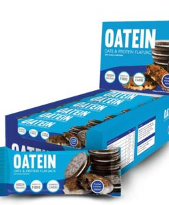 Oatein cookies and cream flavoured protein flapjack.