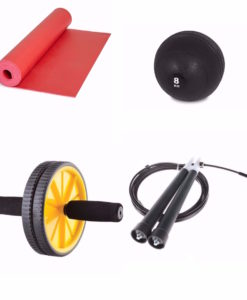 Yoga Mat, 8kg slamball, ab wheel, and speed rope