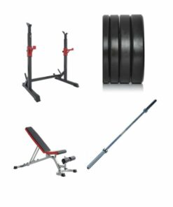 Home Gym Package: Squat Stand , Adjustable Bench , Oly Bar & 100kg Weights